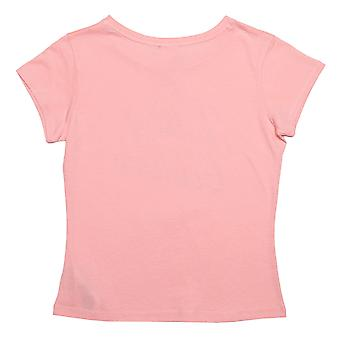 Juicy Girls Juicy Couture Branded T-Shirt In Rose- Cap Sleeve- Ribbed Collar-