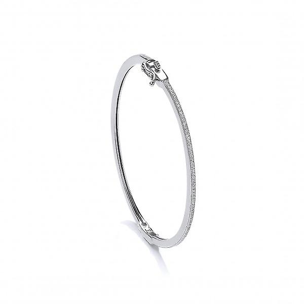 Cavendish French Fine Silver and CZ Hinged Bangle