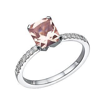 14K Weißgold 2.14 CTW natürliche Pfirsich/Pink VS Morganit Ring mit Diamanten Smaragd Classic einzigartige