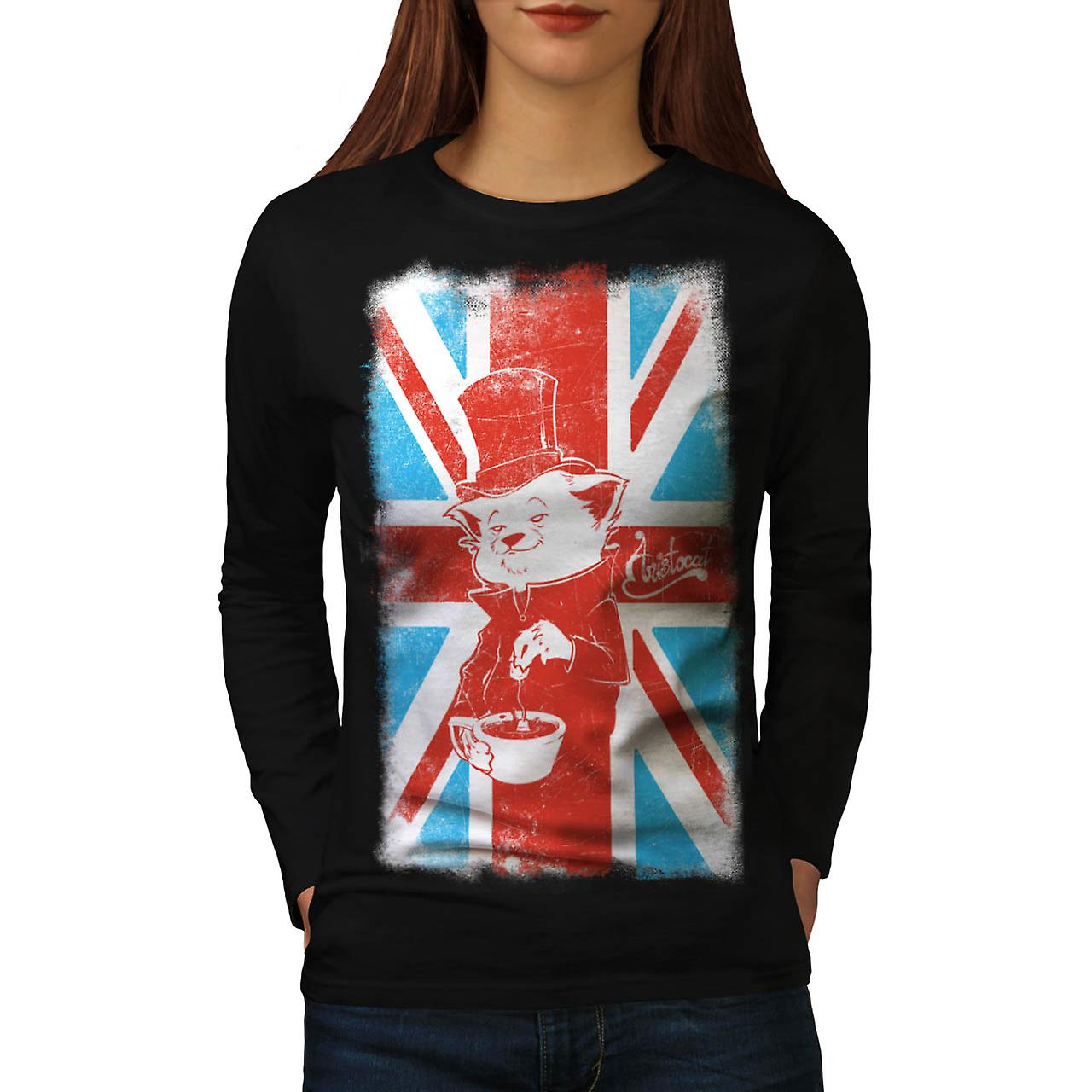 Great Britain Cat Flag UK Women Black Long Sleeve T-shirt | Wellcoda