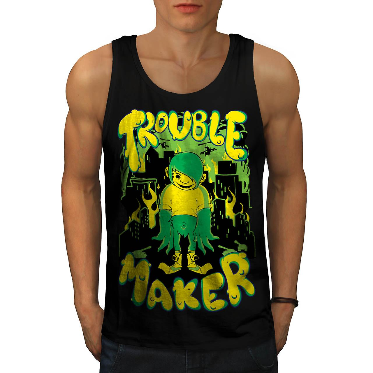 Trouble Maker Youth Chaos Problem Men Black Tank Top | Wellcoda
