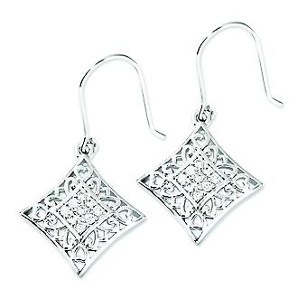 Sterling Silver Dangle Polished Gift Boxed Shepherd hook Rhodium-plated Cubic Zirconia I Love You All Year Long Earrings