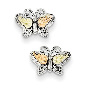 Sterling Silver and 12k Butterfly Post Earrings