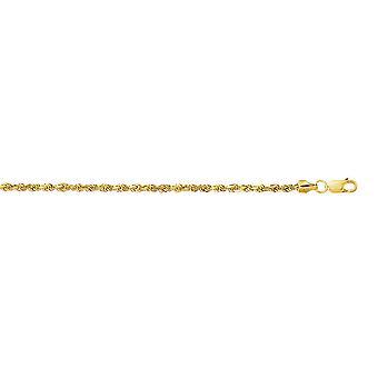 10k Gelb Gold 2,5 mm Sparkle-Cut hohlen Sparkle Seil Kette Fußkettchen mit Karabiner-Verschluss - 10 Zoll