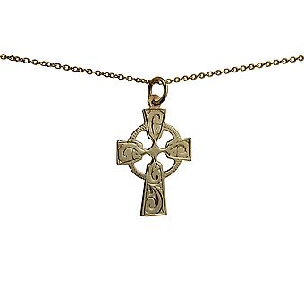 9ct Gold 23x16mm hand engraved Celtic Cross with a cable Chain 16 inches Only Suitable for Children