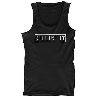 Men's Black Cotton Graphic Tank Top - Killin' It Killing It Tanks