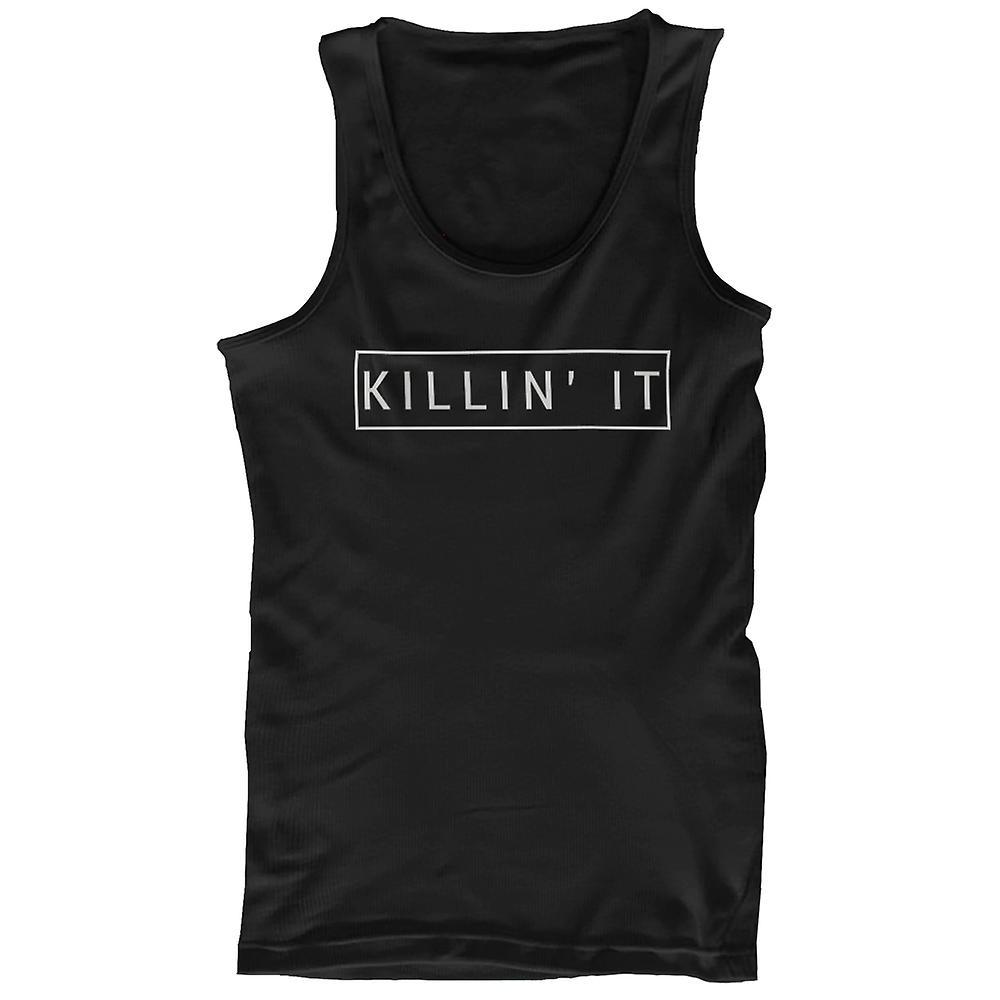 Men's Black Cotton Graphic Tank Top - Killin' It Killing It Tanks