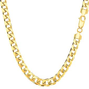 14k Yellow Gold Miami Cuban Link Chain Necklace - Width 4.4mm