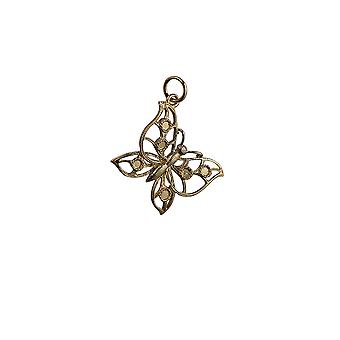 9ct Gold 25x19mm Butterfly Pendant or Charm