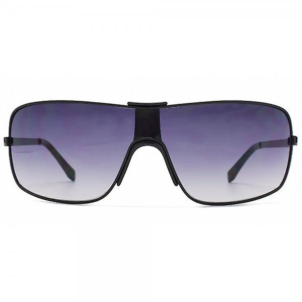 French Connection Square Fashion Visor Sunglasses In Shiny Black