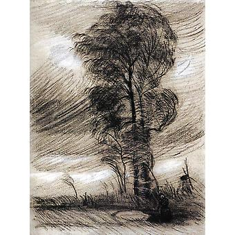 Vincent Van Gogh - Landscape in Stormy Weather, 1885 Poster Print Giclee