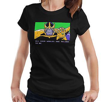 あなたの世界は、すべて私はサノス ゼロ翼女性の t シャツに属しています。