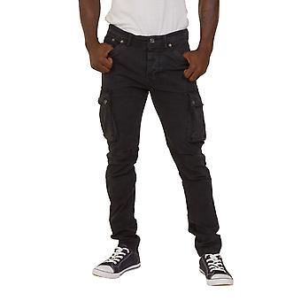 Mens Slim Fit Cargo Trousers Blue Army Combat Pants