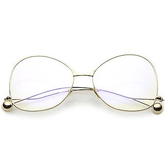 Oversize Butterfly Glasses With Clear Lenses And Thin Metal Arms With Ball Accents