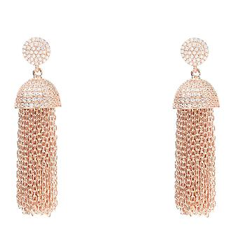 En argent Sterling 925 Chain Tassel Dangle Drop boucles d'oreilles Rosegold avec CZ