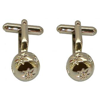 Bassin and Brown Mini Flower Globe Cufflinks - Silver