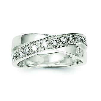 Sterling sølv poleret Solid tilbage Cubic Zirconia Ring - ringstørrelse: 6-8