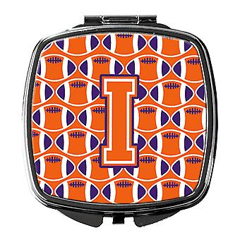 Letter I Football Orange, White and Regalia Compact Mirror