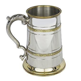 Brass Finish 1 Pint Pewter Tankard with Ornate Handle (EP171 EP)