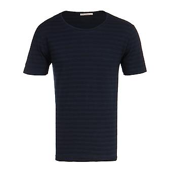 Nudie Jeans Co Ove Navy & sort dobbelt stribe Crew Neck T-Shirt