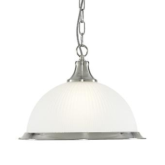 American Diner Satin Silver Single Pendant With Acid Ribbed Glass - Searchlight 1044