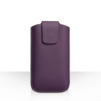 Caseflex Medium Textured Leather-Effect Phone Pouch - Purple