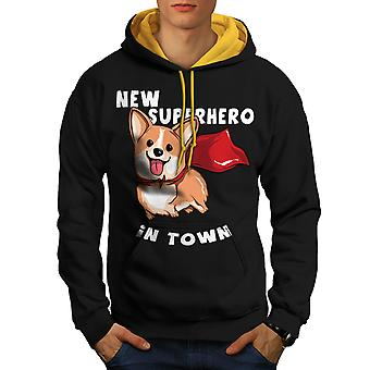 New Superhero Dog Men Black (Gold Hood)Contrast Hoodie | Wellcoda