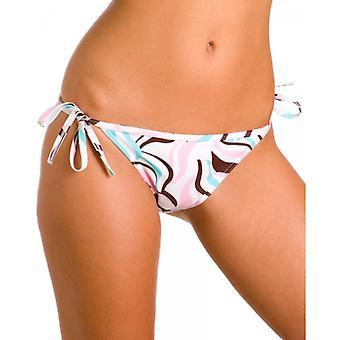 Camille Womens Damen weiß und Pastell farbigen Wirbel Print Tie einseitig Bikini Bottoms