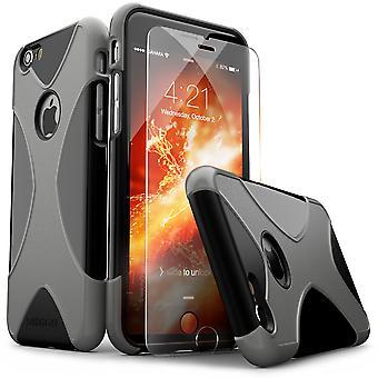 SaharaCase® iPhone 6/6s Black Gray Case, X-Case Protective Kit Bundle with ZeroDamage® Tempered Glass