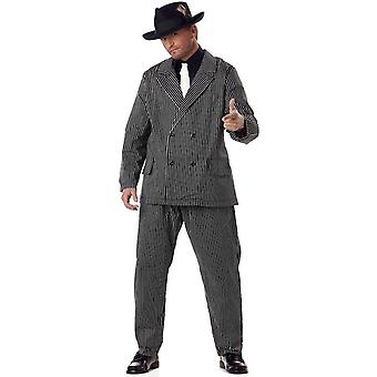 Gangster 30s 60s Mob Capone Mobster Men Costume Plus