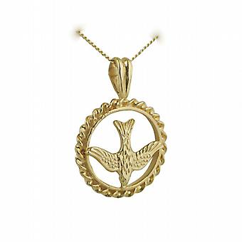 9ct Gold 15mm round Confirmation Pendant with a curb Chain 20 inches