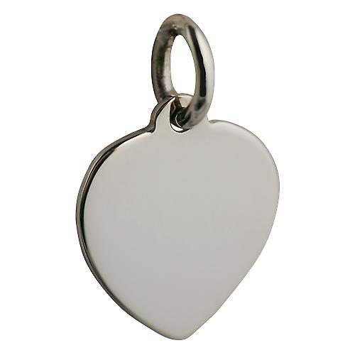 9ct or blanc 16x14mm plaine de coeur Disc