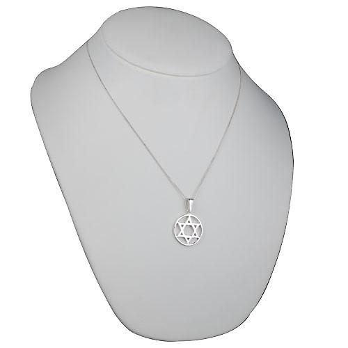 Silver 25mm plain Star of David in circle Pendant with a curb Chain 20 inches