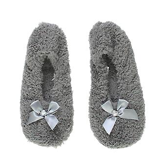 Ajvani dame elastisk slip på fleece vinter hjerte perle bue tøfler sokker