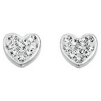 Beginnings Crystal Fantasy Set Heart Stud Earrings - Silver/Clear