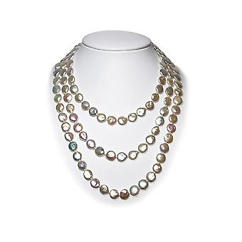 Long necklace Sautoir woman in pearls of freshwater flat of 1 m 63