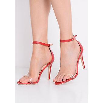 Perspex Strap Heeled Stiletto Sandals Red