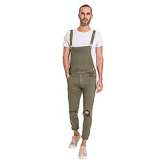Mens Slim Fit Dungarees - Green Detachable Bib and Straps
