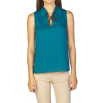 Miu Miu Women's Cotton Sleeveless Blouse Shirt Turquoise