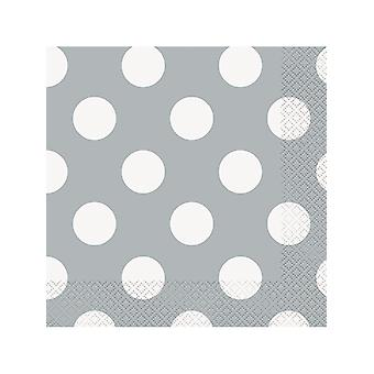 Silver Dot Lunch Napkins