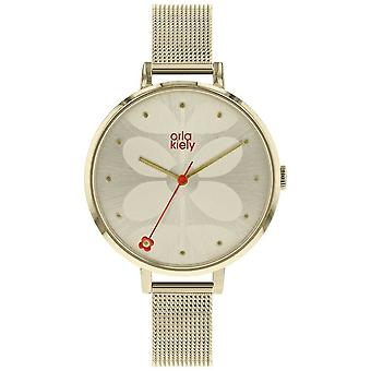Orla Kiely Womens grand pâle or cas crème Sunray cadran OK4062 Watch