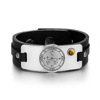 Archangel Samael Sigil Magic Powers Amulet Tag Tiger Eye Gemstone Adjustable Black Leather Bracelet