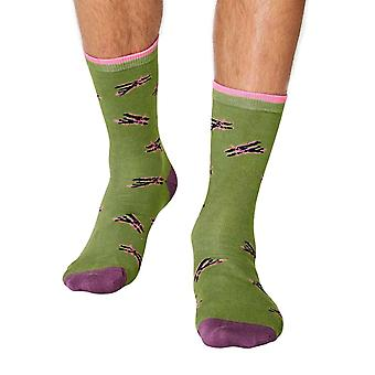 Aeroplane men's super-soft bamboo crew socks in green | By Thought