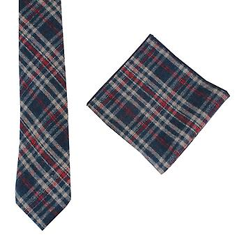 Knightsbridge Neckwear Check Tie and Pocket Square set - Navy/Red/Beige