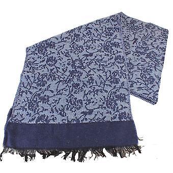 Bassin et Bonsai brun maison soi fleur écharpe en laine - bleu marine/bleu