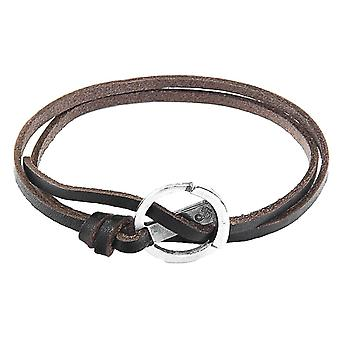 Anchor and Crew Ketch Anchor Flat Leather Bracelet - Dark Brown/Silver