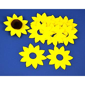 10 Yellow Sunflower Foam Shapes with Hole for Pom Pom | Childrens Craft Foam