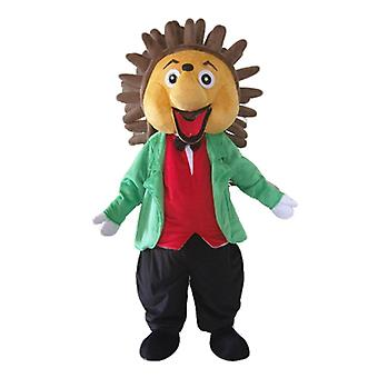 mascot Hedgehog beige and Brown, dressed classy and colorful SPOTSOUND