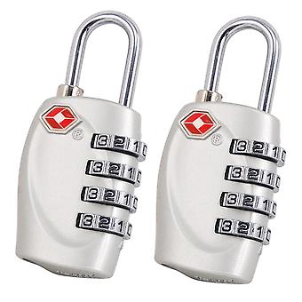 2 x TRIXES 4-Dial TSA Combination Padlock for Luggage Suitcases and Travel (Silver)
