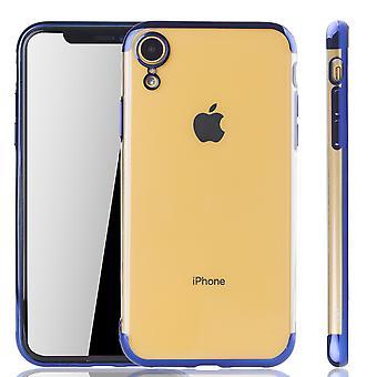 Handyhülle für Apple iPhone XR Blau - Clear - TPU Silikon Case Backcover Schutzhülle in Transparent / glänzender Rand Blau
